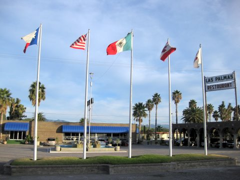The flags of 5 countries - Texas, USA, Mexico, Canada, Japan