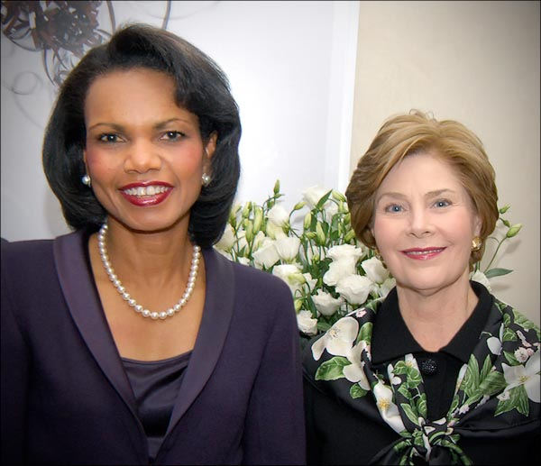 First Lady Laura Welch Bush and former United States Secretary of State Condoleezza Rice