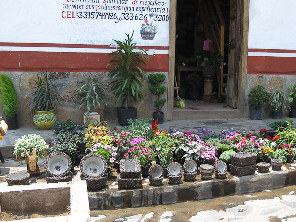 Flowers and unique pottery.