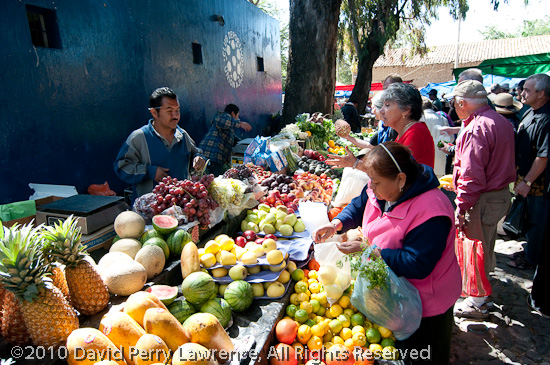 Fruits and vegetables stand at the Wednesday market.