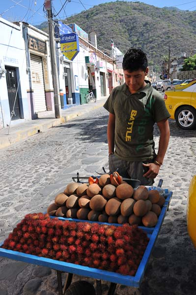 Here is a photograph of a very shy fruit vendor coming down our street.