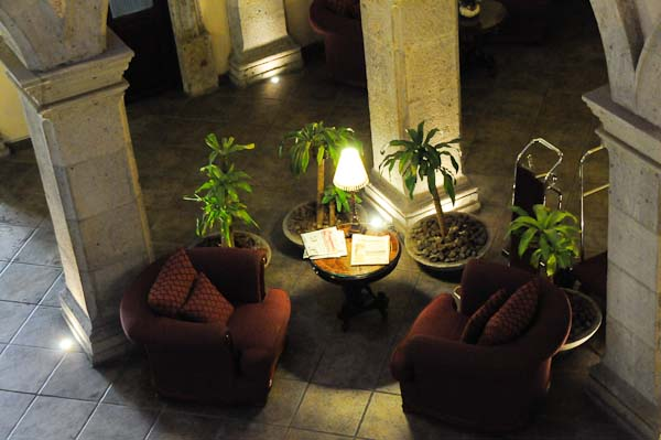Conversation setting in the lobby of the Hotel Morales.