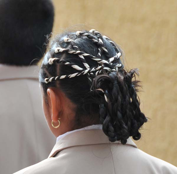 The girls had material braided within their hair to create an amazing look.