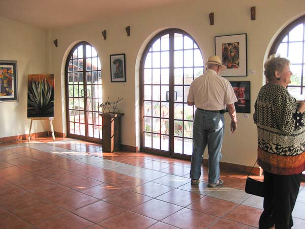 The exhibit is in three different rooms within the cultural center.  This room is beautifully lit through lovely french doors.