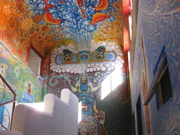 This mural is on the ceiling of the stairwell of the building.  It leads to several showrooms on the second floor and a teaching area on the third floor.