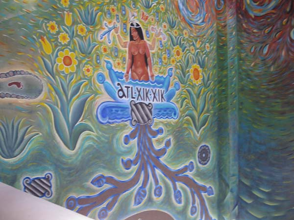 This is the section of the mural highlighting Ajijic.  It shows the ancient spelling of the word Ajijic.